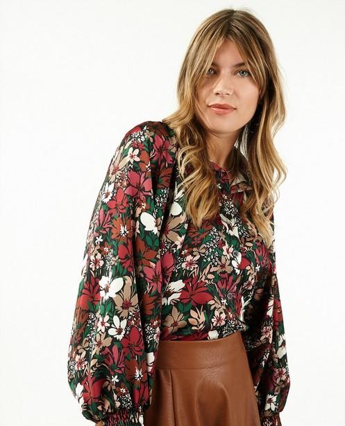 Zwarte blouse met bloemenprint Ella Italia - en ballonmouwen - Ella Italia