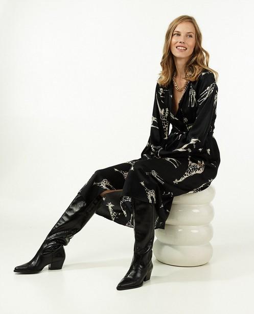 Zwarte jurk met dierenprint Ella Italia - rib - Ella Italia