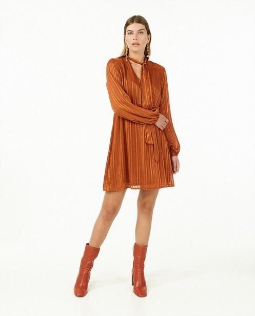 Oranje jurk met strepen Ella Italia - en metaaldraad - Ella Italia
