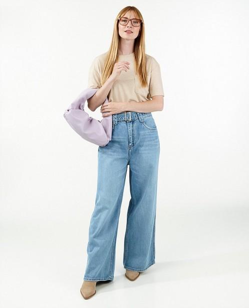Lichtblauwe jeans met knoopsluiting  - met rafels - Paris