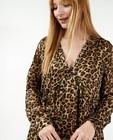 Bruine jurk met luipaardprint - stretch - Paris