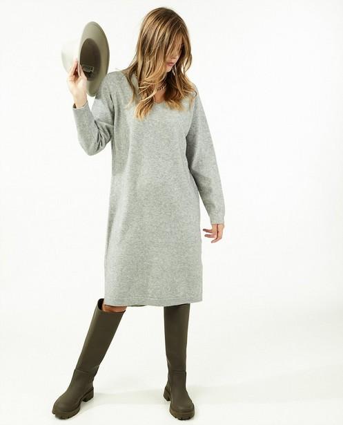 Gebreide jurk in lichtgrijs - gemêleerd - Paris